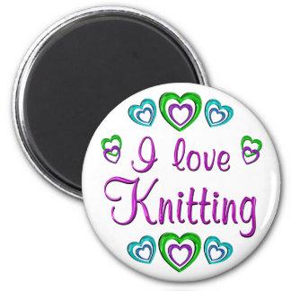 I Love Knitting 2 Inch Round Magnet