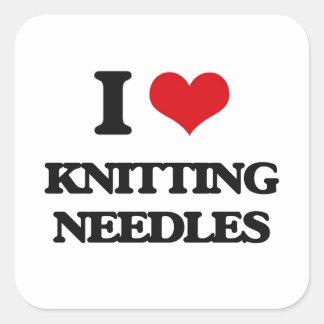 I Love Knitting Needles Square Sticker