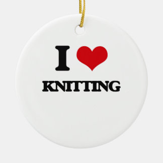 I Love Knitting Double-Sided Ceramic Round Christmas Ornament