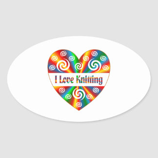 I Love Knitting Oval Sticker
