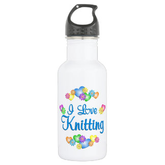 I Love Knitting 18oz Water Bottle