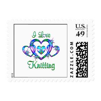 I Love Knitting Postage Stamp