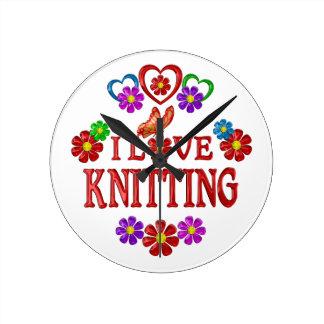 I Love Knitting Round Clock