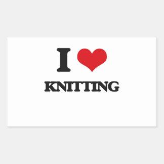 I Love Knitting Rectangular Stickers