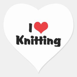 I Love Knitting Heart Sticker