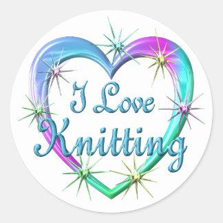 I Love Knitting Round Stickers