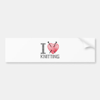 I love knitting, word art, text design bumper sticker