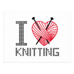 I love knitting, word art, text design postcard