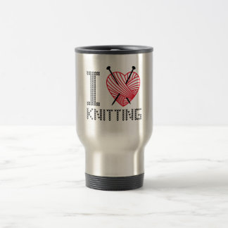 I love knitting, word art, text design travel mug