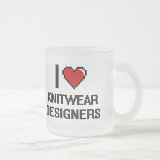I love Knitwear Designers 10 Oz Frosted Glass Coffee Mug