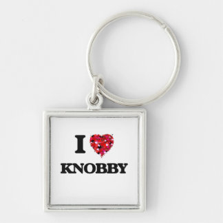 I Love Knobby Silver-Colored Square Keychain