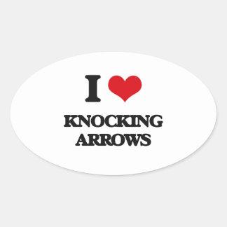 I Love Knocking Arrows Oval Stickers