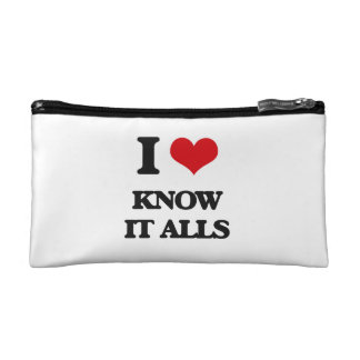 I Love Know It Alls Cosmetics Bags