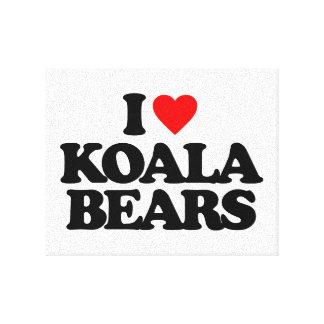 I LOVE KOALA BEARS CANVAS PRINTS