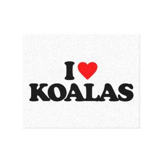 I LOVE KOALAS CANVAS PRINTS
