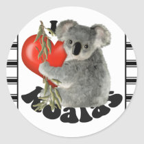 I Love Koalas Classic Round Sticker