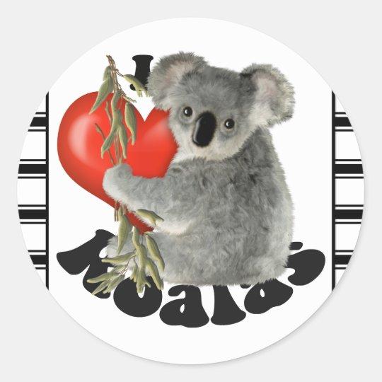 I Love Koalas Classic Round Sticker