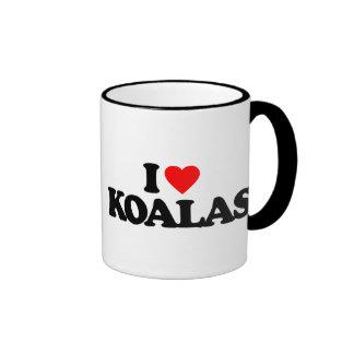 I LOVE KOALAS RINGER COFFEE MUG