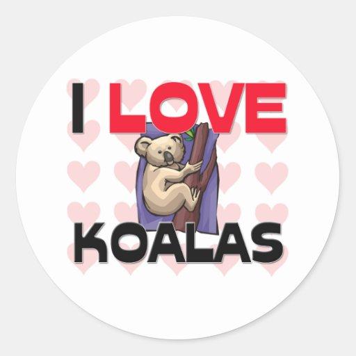 I Love Koalas Stickers