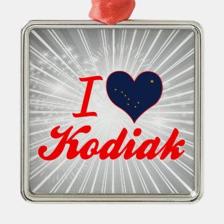 I Love Kodiak, Alaska Square Metal Christmas Ornament