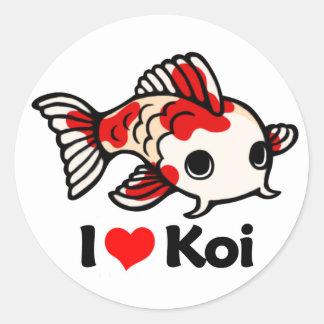 I Love Koi Classic Round Sticker