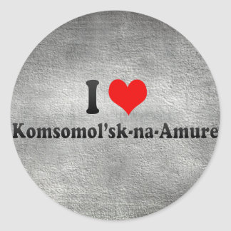 I Love Komsomol'sk-na-Amure, Russia Round Stickers
