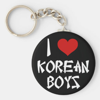 I Love Korean Boys Basic Round Button Keychain