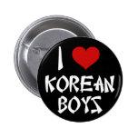 I Love Korean Boys Pinback Button