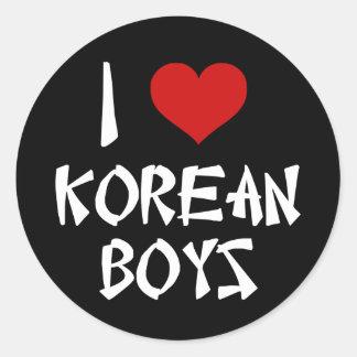 I Love Korean Boys Round Sticker