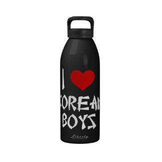 I Love Korean Boys Reusable Water Bottle