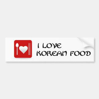 I Love Korean Food Bumper Sticker! Car Bumper Sticker