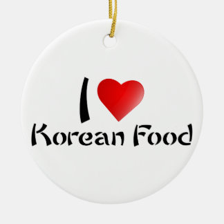 I LOVE KOREAN FOOD Double-Sided CERAMIC ROUND CHRISTMAS ORNAMENT