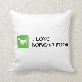 i Love Korean Food - Green Throw Pillow