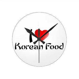 I LOVE KOREAN FOOD ROUND WALL CLOCKS