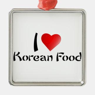 I LOVE KOREAN FOOD SQUARE METAL CHRISTMAS ORNAMENT
