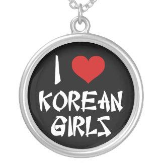 I Love Korean Girls Round Pendant Necklace