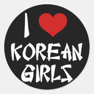 I Love Korean Girls Round Sticker