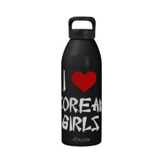 I Love Korean Girls Water Bottles