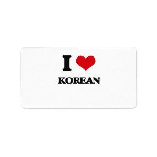 I Love Korean Personalized Address Label
