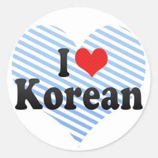 I Love Korean Round Sticker