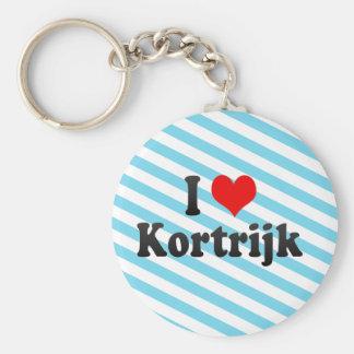 I Love Kortrijk, Belgium Basic Round Button Keychain