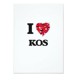 I Love Kos 5x7 Paper Invitation Card