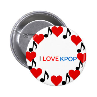 I LOVE KPOP-Button Badge Pinback Button