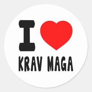 I Love Krav Maga Classic Round Sticker