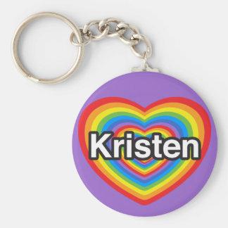 I love Kristen. I love you Kristen. Heart Basic Round Button Keychain