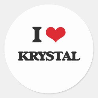 I Love Krystal Classic Round Sticker