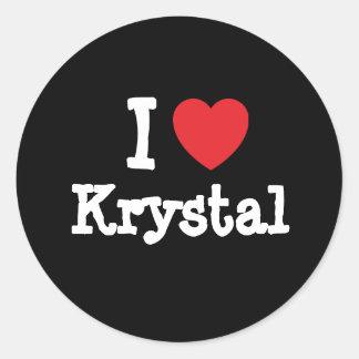 I love Krystal heart T-Shirt Classic Round Sticker