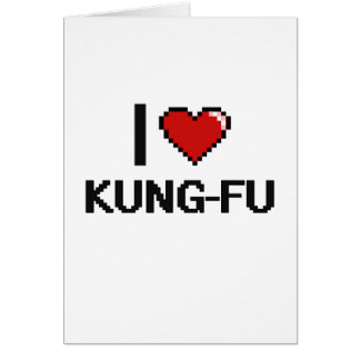 I Love Kung-Fu Digital Retro Design Greeting Card