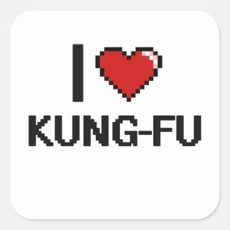 I Love Kung-Fu Digital Retro Design Square Sticker