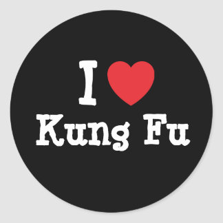 I love Kung Fu heart custom personalized Round Sticker